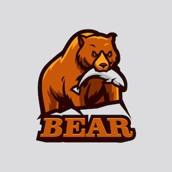 Niedźwiedź jeść ryby esportss logo maskotka ilustracji wektorowych