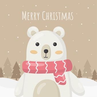 Niedźwiedź kartki świąteczne na białym tle na brązowym tle