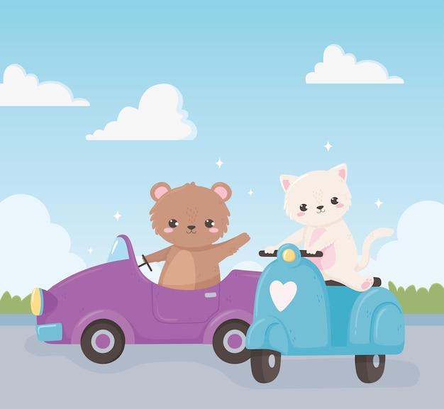 Niedźwiedź kot kreskówka motocykl samochód