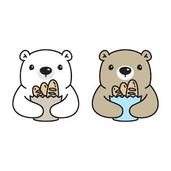 Niedźwiedź kreskówka chleb