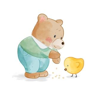 Niedźwiedź kreskówka karmi małą kaczkę ilustracja kreskówka