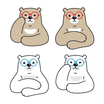 Niedźwiedź kreskówka okulary