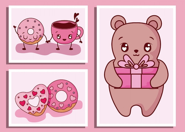 Niedźwiedź kreskówka pączki i filiżankę kawy walentynki