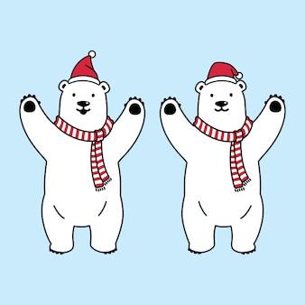 Niedźwiedź kreskówka polarne boże narodzenie