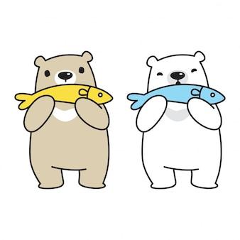 Niedźwiedź kreskówka ryba polarna