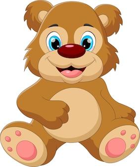 Niedźwiedź kreskówka siedzi i uśmiecha się poza