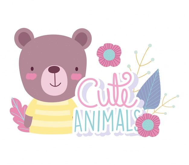 Niedźwiedź kreskówka słodkie postacie zwierząt kwiaty natura
