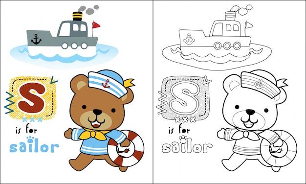 Niedźwiedź kreskówka żeglarz z małą łódką