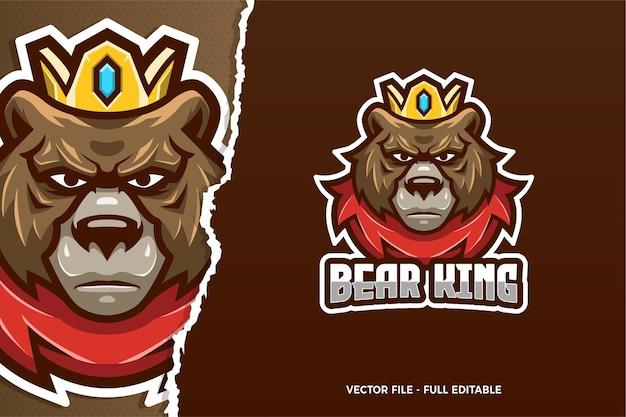 Niedźwiedź król e-sport szablon logo