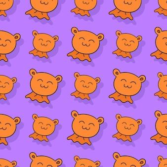 Niedźwiedź lalka bezszwowe powtórzyć wzór. tło wektor ilustracja.