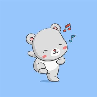 Niedźwiedź lalka tańczy z muzyką hip hop