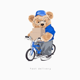 Niedźwiedź lalka trzymająca paczki na ilustracji rowerowej
