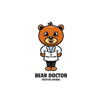 Niedźwiedź lekarz maskotka w stylu kreskówkowym logo