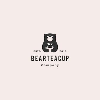 Niedźwiedź logo filiżanki herbaty