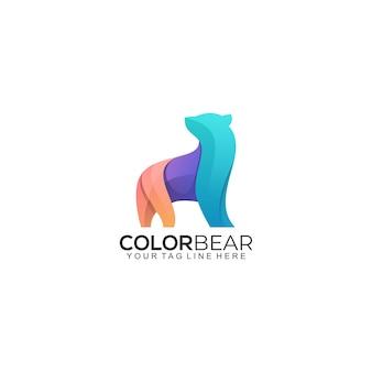 Niedźwiedź logo gradientowe kolorowe logo szablon