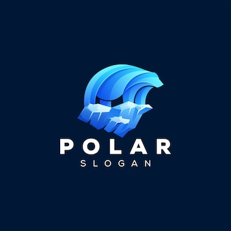 Niedźwiedź logo gradientu polarnego