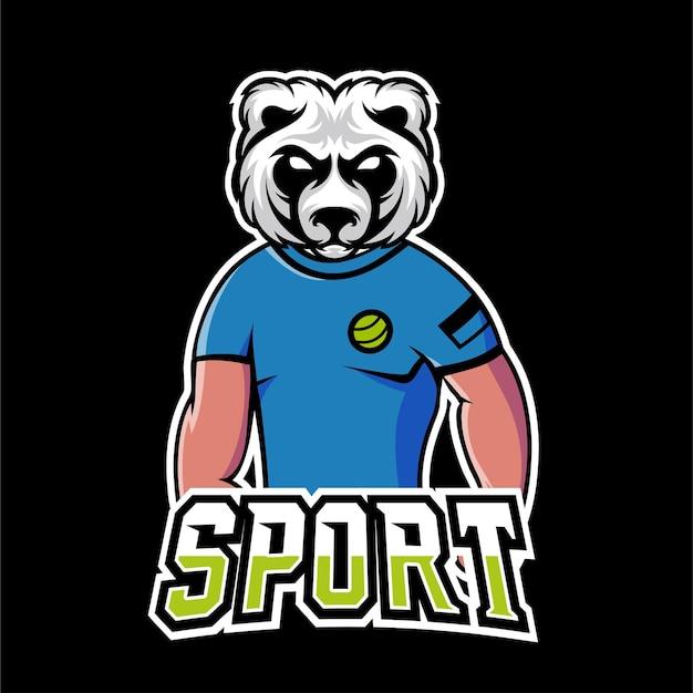 Niedźwiedź logo maskotki sportowej i e-sportowej