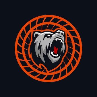 Niedźwiedź logo na białym tle premium wektorów