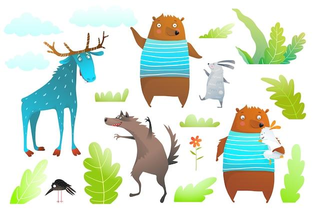 Niedźwiedź, łoś, królik i wilk oraz obiekty leśne izolowane clipart dla dzieci.