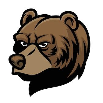 Niedźwiedź maskotka głowa na białym tle