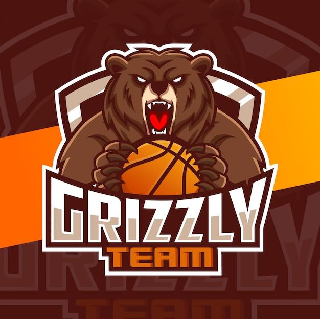 Niedźwiedź maskotka koszykówka sport projektowanie logo