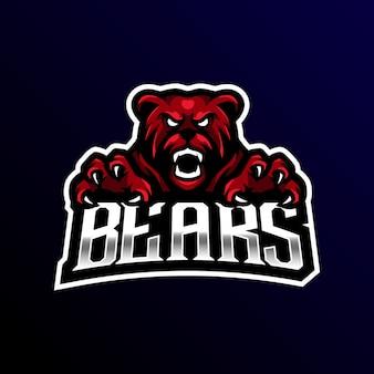 Niedźwiedź maskotka logo esport gaming.