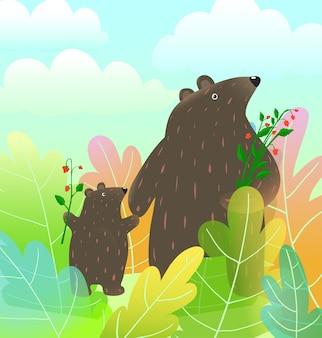 Niedźwiedź matka i dziecko młode zwierzęta spacerujące po lesie krajobraz z chmurami w stylu przypominającym akwarele kreskówka wektor.