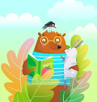 Niedźwiedź miś i królik czytanie książki w naturze, kolorowy kreskówka tło lasu.