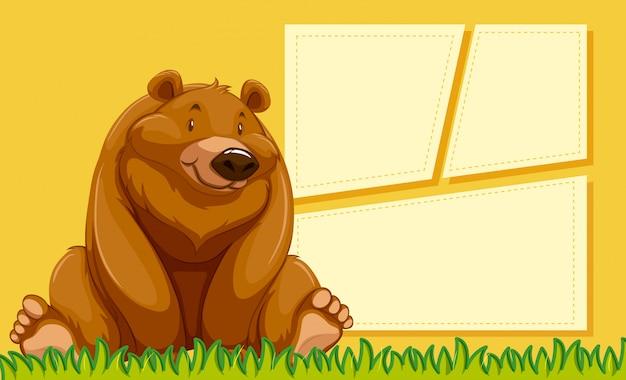 Niedźwiedź na pustym szablonie