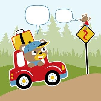 Niedźwiedź na samochód kreskówka wektor