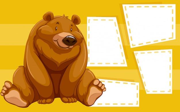 Niedźwiedź na tle notatki