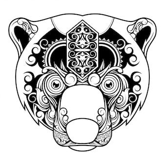 Niedźwiedź niedźwiedź doodle ornament ilustracja i t-shirt projekt
