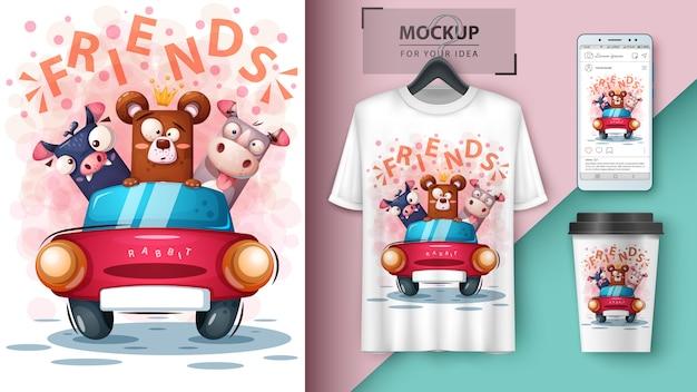 Niedźwiedź, nietoperz, nosorożec plakat i merchandising