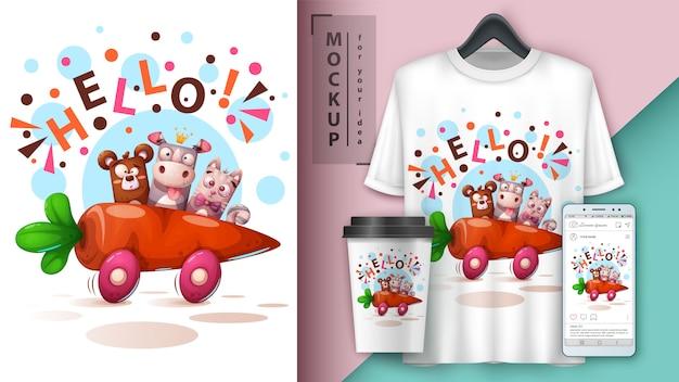 Niedźwiedź, nosorożec, kot - podróż samochodem. projekt koszulki