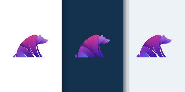 Niedźwiedź nowoczesne kolorowe logo gradientu