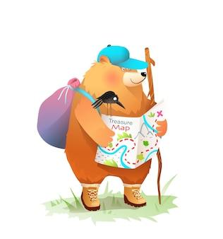 Niedźwiedź obóz czytający mapę skarbów, trekking i odkrywanie, ilustracja przygody zwierząt dla dzieci, kreskówka na białym tle