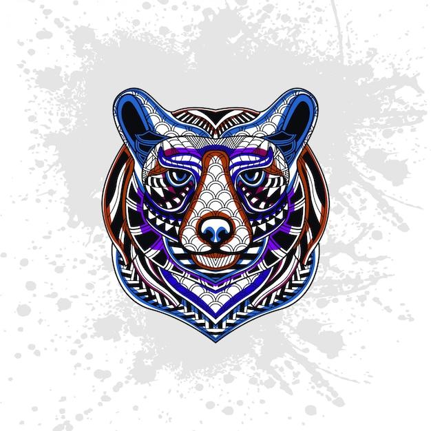 Niedźwiedź ozdobiony abstrakcyjnymi kształtami
