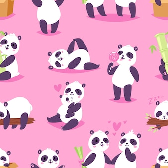 Niedźwiedź panda lub chiński miś z bambusem w miłości, grając lub śpiącego zestaw gigantycznej pandy, czytając książkę lub jedząc lody na tle