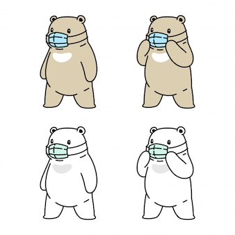 Niedźwiedź polarna maska coronavirus covid-19 ilustracja kreskówka