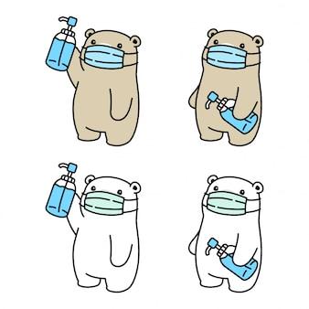 Niedźwiedź polarna maska koronawirusa covid-19 ilustracja