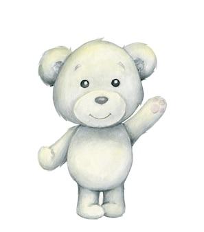 Niedźwiedź Polarny. Akwarela, Polarny Zwierzę W Stylu Kreskówki Na Na Białym Tle. Premium Wektorów