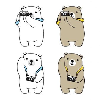 Niedźwiedź polarny aparat fotograficzny postać z kreskówki