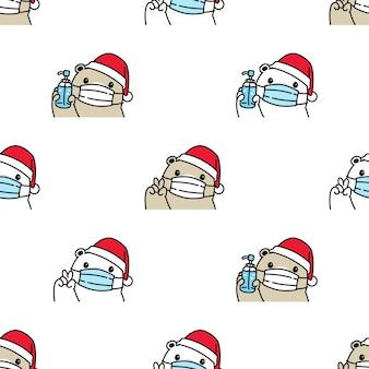 Niedźwiedź polarny bez szwu wzór świąteczna maska święty mikołaj