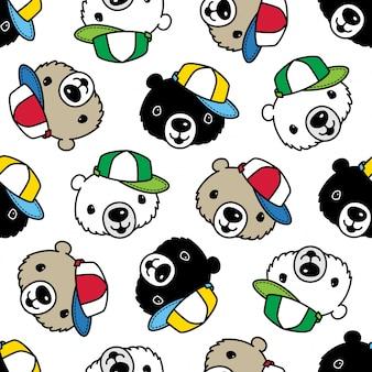 Niedźwiedź polarny czapka seamless pattern