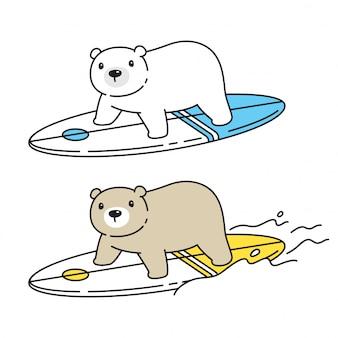 Niedźwiedź polarny deska surfingowa kreskówka zwierząt ilustracja