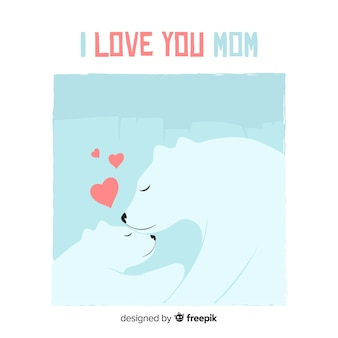 Niedźwiedź polarny dzień matki przytulanie jej cub tło