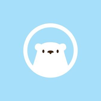 Niedźwiedź polarny głowa okrągły emblemat logo wektor ikona ilustracja