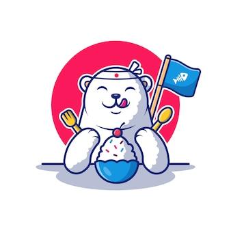 Niedźwiedź polarny jeść lody ilustracja. zwierzę . płaski styl kreskówek