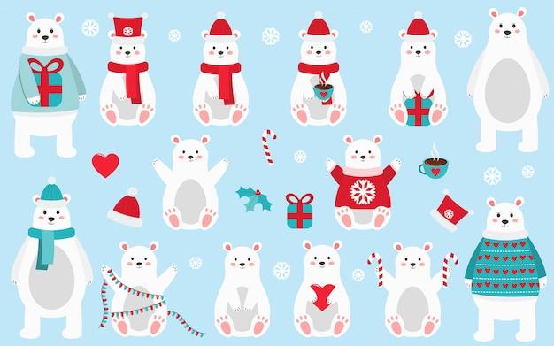 Niedźwiedź polarny kreskówka zestaw boże narodzenie i nowy rok. niedźwiedź dziecka z matką. ilustracja wektorowa płaska konstrukcja.