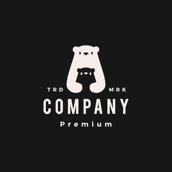Niedźwiedź Polarny Mama I Syn Cub Hipster Vintage Logo Wektor Ikona Ilustracja Premium Wektorów